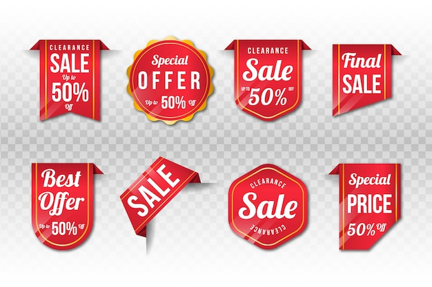 Coleção de etiqueta de vendas realista