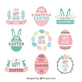 Coleção de etiqueta / distintivo do dia de páscoa desenhada mão