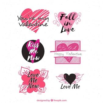 Coleção de etiqueta / distintivo do dia dos namorados da aguarela