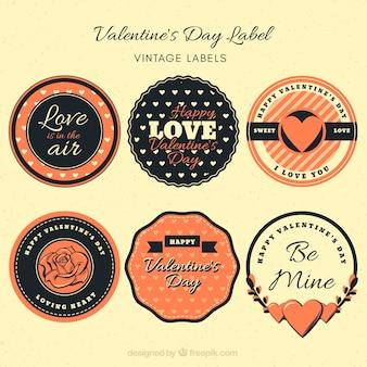 Coleção de etiqueta / distintivo do dia dos namorados do vintage