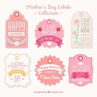 Coleção de etiqueta do dia das mães do rosa do vintage