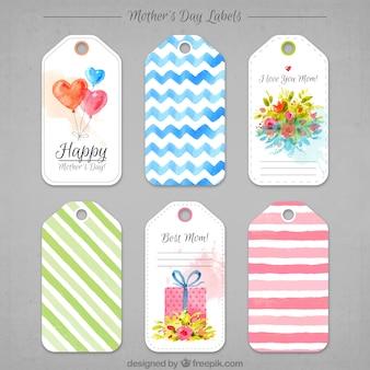 Coleção de etiqueta do dia de mãe da aguarela