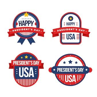 Coleção de etiqueta do dia do presidente