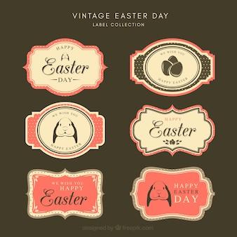 Coleção de etiqueta / emblema do dia da páscoa vintage