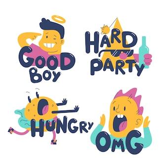 Coleção de etiqueta engraçada de mão desenhada design