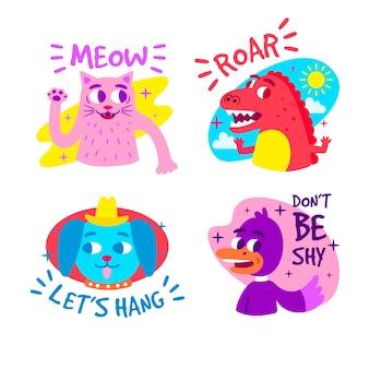 Coleção de etiqueta engraçada desenhada de mão