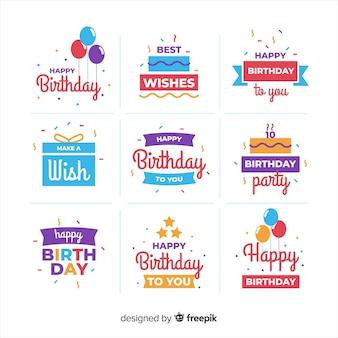 Coleção de etiqueta plana de aniversário
