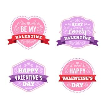 Coleção de etiqueta plana dia dos namorados