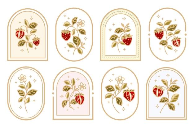Coleção de etiqueta vintage morango logo com moldura e elementos florais