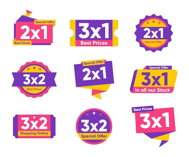 Coleção de etiquetas coloridas de oferta especial 2x1