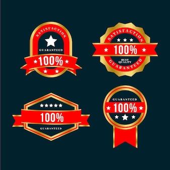 Coleção de etiquetas com garantia 100% dourada e vermelha de luxo