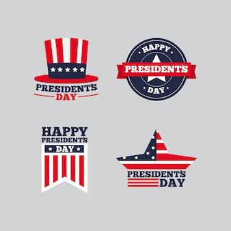 Coleção de etiquetas com o conceito de dia dos presidentes