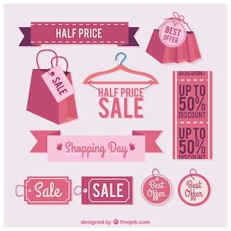 Coleção de etiquetas da venda rosa