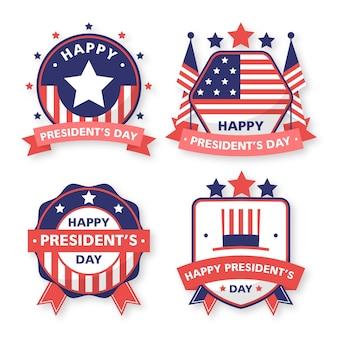 Coleção de etiquetas das bandeiras do dia do presidente