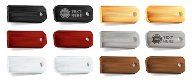 Coleção de etiquetas de adesivos de madeira. conjunto de placas de madeira realistas com várias formas e cores