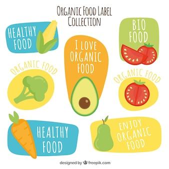 Coleção de etiquetas de alimentos orgânicos desenhadas à mão