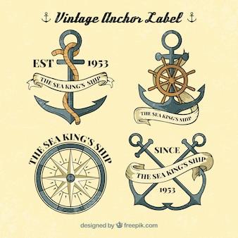 Coleção de etiquetas de âncoras vintage