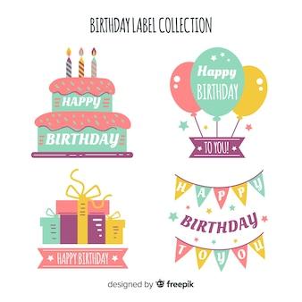 Coleção de etiquetas de aniversário