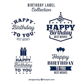 Coleção de etiquetas de aniversários