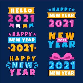 Coleção de etiquetas de ano novo de 2021 em design plano