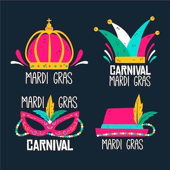Coleção de etiquetas de carnaval com acessórios