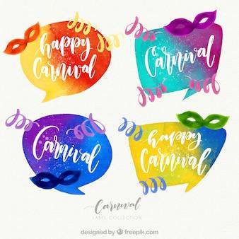 Coleção de etiquetas de carnaval com aquarela