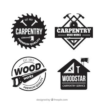 Coleção de etiquetas de carpintaria com estilo vintage