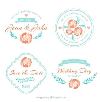 Coleção de etiquetas de casamento azul