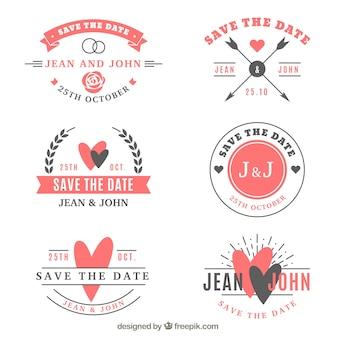 Coleção de etiquetas de casamento de seis