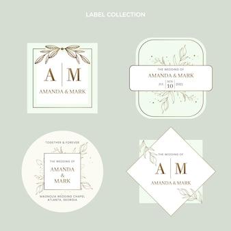 Coleção de etiquetas de casamento desenhada à mão
