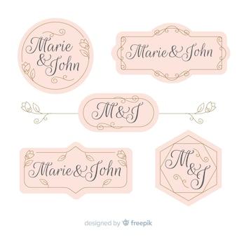 Coleção de etiquetas de casamento