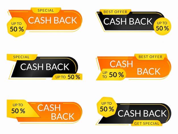 Coleção de etiquetas de cashback
