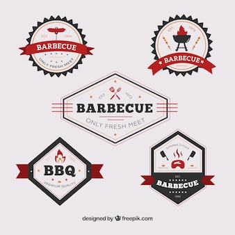 Coleção de etiquetas de churrasco em estilo plano
