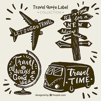 Coleção de etiquetas de cotações de viagens vintage