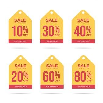 Coleção de etiquetas de desconto de venda