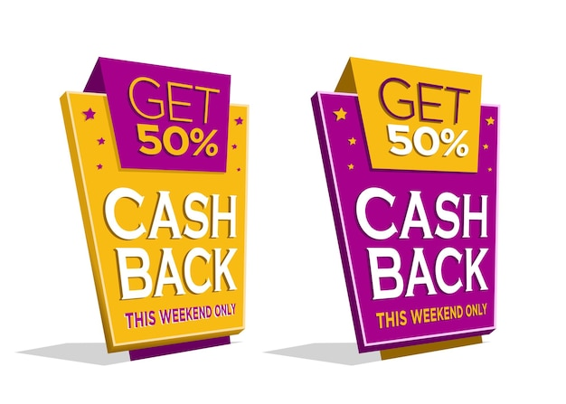 Coleção de etiquetas de desconto em promoção de cashback em 3d