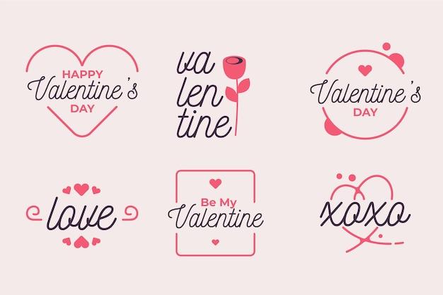 Coleção de etiquetas de dia dos namorados