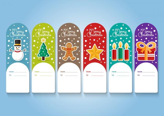 Coleção de etiquetas de elementos de natal