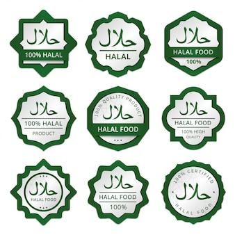 Coleção de etiquetas de etiquetas de etiquetas de embalagens de alimentos halal