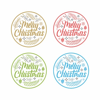 Coleção de etiquetas de feliz natal