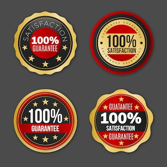 Coleção de etiquetas de garantia cem por cento