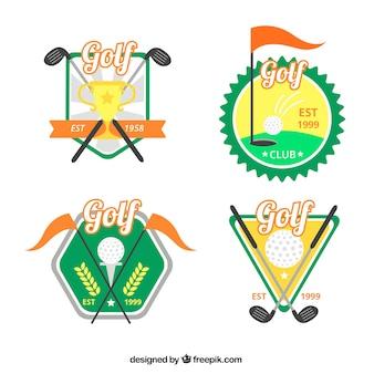 Coleção de etiquetas de golfe coloridas