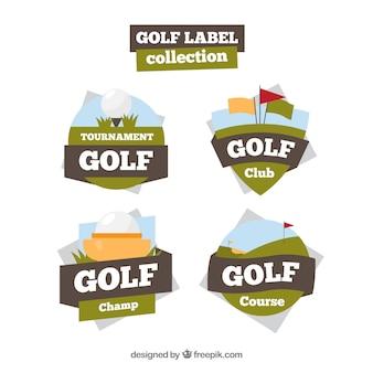 Coleção de etiquetas de golfe criativas