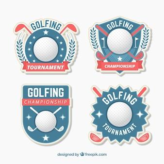 Coleção de etiquetas de golfe em estilo plano