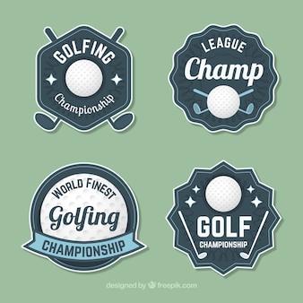 Coleção de etiquetas de golfe em estilo vintage
