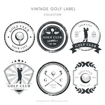 Coleção de etiquetas de golfe em preto e branco