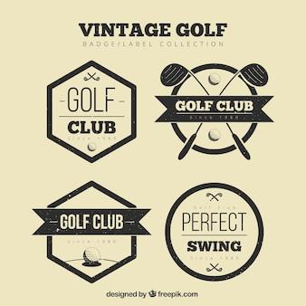 Coleção de etiquetas de golfe preto