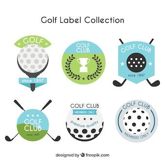 Coleção de etiquetas de golfe