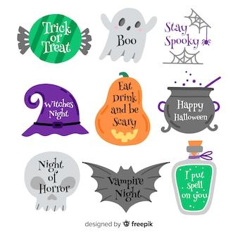 Coleção de etiquetas de halloween com acessórios de bruxa