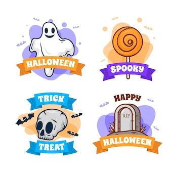 Coleção de etiquetas de halloween desenhada à mão